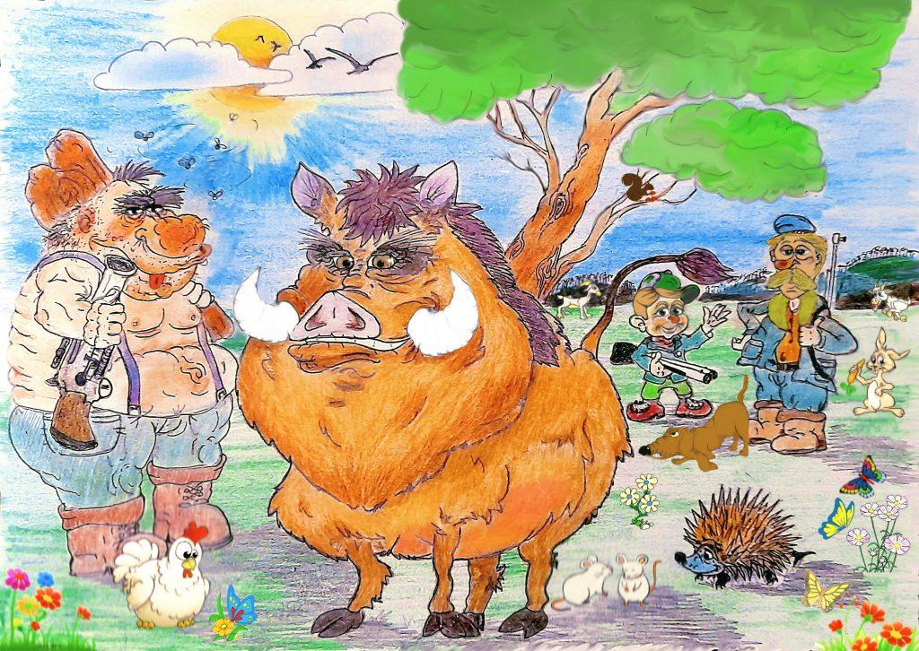 favola fiaba storia gratis bambini disegno cinghiale